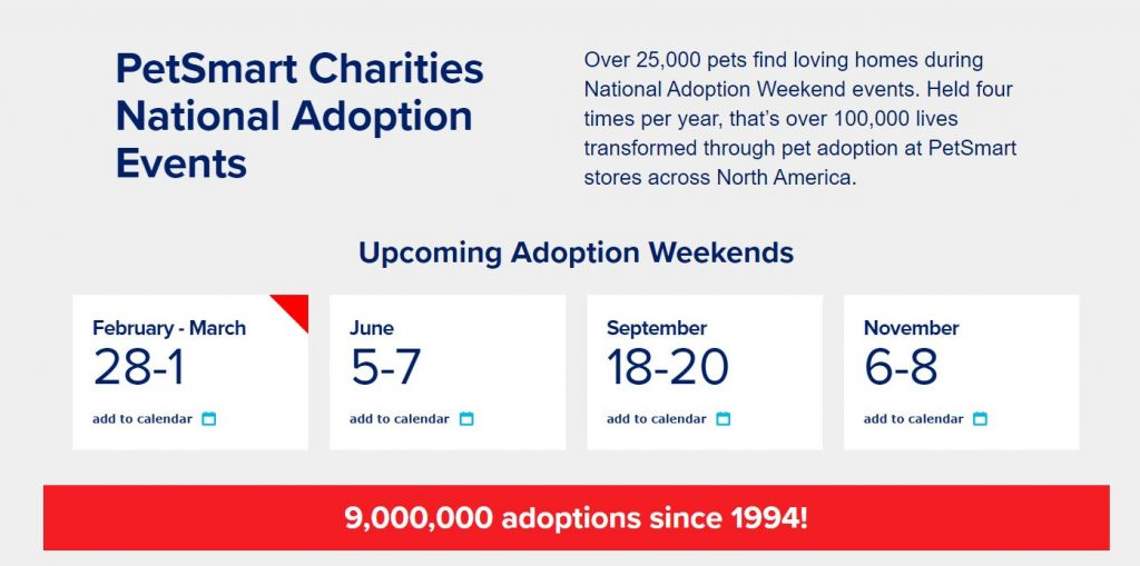 PetSmart Charities National Adoption Events